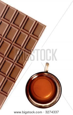 five o'clock tea with chocolate on the white background poster