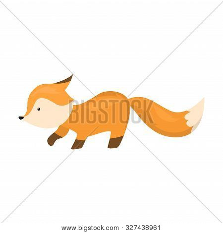Cute Fox Is Sneaking. Vector Illustration Isolated On White Background
