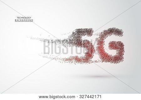 5G Network Wireless Systems And Internet . Big Data Binary Code Flow Numbers.communication Network.