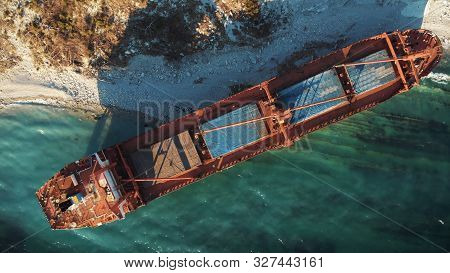 Cargo Ship Run Aground At Sea Coastline Near Novorossiysk And Gelendzhik. Shipwreck Accident Of Naut