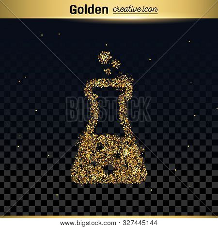 Gold Glitter Vector Icon Of Beaker Isolated On Background. Art Creative Concept Illustration For Web