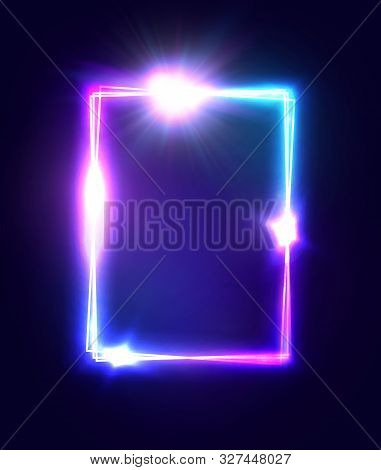 Bright 3d Neon Square Sign On Dark Blue Background. Technology Electric Rectangle Border For Design