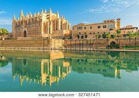 La Seu Or Cathedral Of Santa Maria Of Palma De Mallorca With Reflection, Majorca, Balearic Island, S