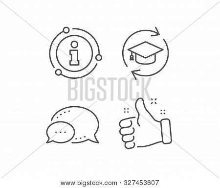 Continuing Education Line Icon. Chat Bubble, Info Sign Elements. Online Education Sign. Linear Conti