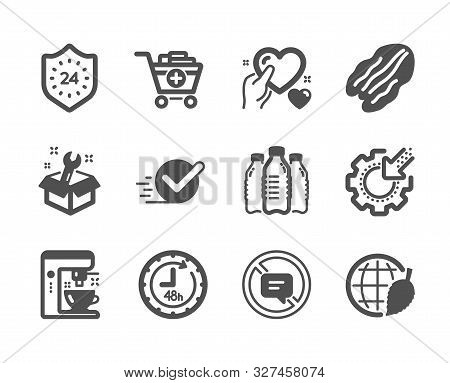 Set Of Business Icons, Such As Environment Day, Coffee Maker, Spanner, Seo Gear, 48 Hours, Add Produ