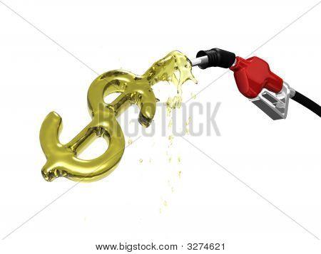 Bomba de gas sobre el llenado de un signo de dólar