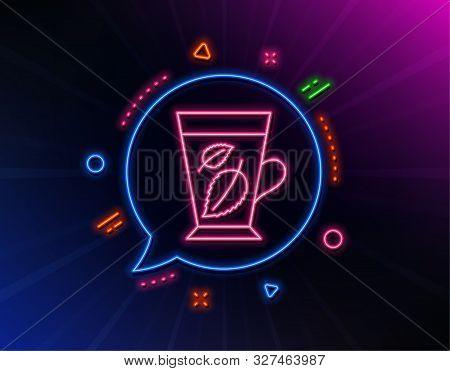 Mint Tea Line Icon. Neon Laser Lights. Fresh Herbal Beverage Sign. Mentha Leaves Symbol. Glow Laser