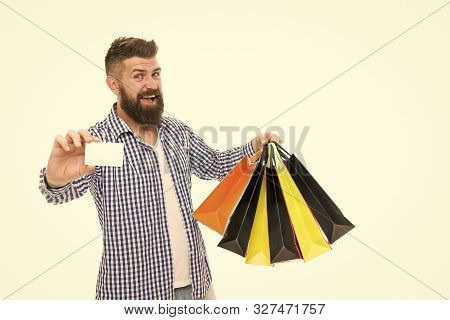 Discount Is Applied Here. Bearded Man Smiling With Discount Card And Paperbags Isolated On White. Ha