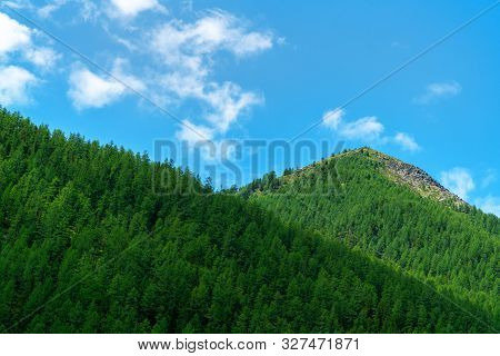 Mountainous Landscape, Picture Mountain Range In The Summer Day.