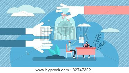 Lending Money Vector Illustration. Flat Tiny Financial Debt Persons Concept. Economical Crisis Help