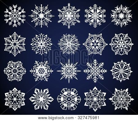 Snowflake. Winter Christmas Snow Crystal Elements, Frozen Cold Star Pictogram Ornament, Frosty Snowf
