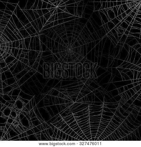 Spider Web Background. Spooky Cobweb For Halloween, Black Grunge Poster With Spider Webs Silhouette