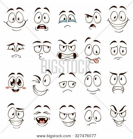 Cartoon Faces. Caricature Comic Emotions With Different Expressions. Expressive Eyes And Mouth, Funn