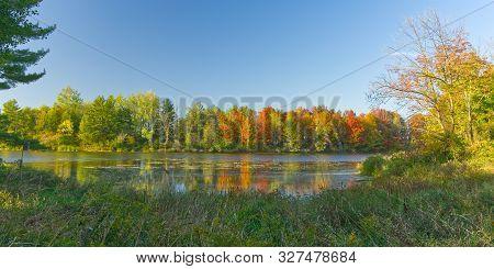 Ontario Autumn Colour Lake Panorama, Morrison Dam Conservation Area, Ontario, Canada
