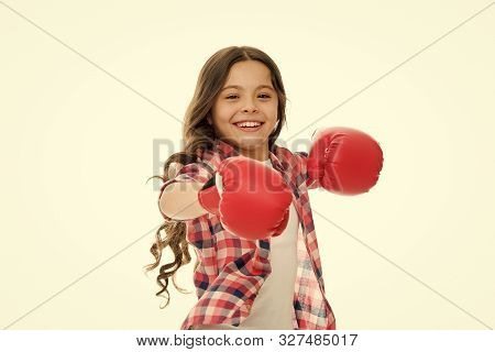 Kid Strong And Independent Girl. Feel Strong And Independent. Girls Power Concept. Upbringing Confid