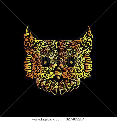 Hand Drawn Owl Head. It Can Be Used For Print Design. Digital Art Of Owl Bird