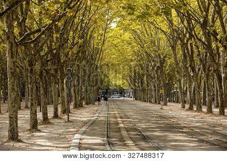 Bordeaux, France - September 9, 2018: Public Garden Along Place Des Quinconces, Bordeaux France, Wit