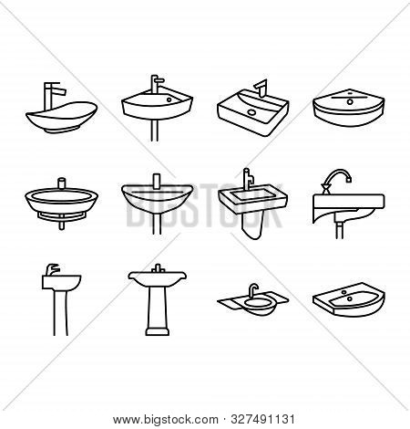 Sink Icon Set, Silhouette Sink, Wash Basin, Faucet Icon Set In Thin Line Style