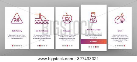 Chemical Toxic Poison Onboarding Mobile App Page Screen Vector Icons Set Thin Line. Toxic In Barrel,