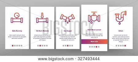 Plumbing Fixtures Onboarding Mobile App Page Screen Vector Icons Set Thin Line. Faucet And Mixer, Valve And Sink, Pipe Tube And Tools Plumbing Fixtures Concept Linear Pictograms. Contour Illustrations poster