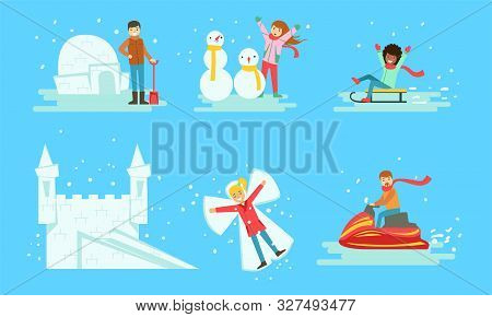 Winter Activities Set, People Building Icy Igloo And Castle, Making Snowman, Riding Snow Scooter, Sl