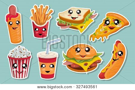 Vector Set Of Cute Kawaii Fast Food. Kawaii Faces. Cartoon Fast Food. Kawaii Eyes. Cute Junk Food Fa