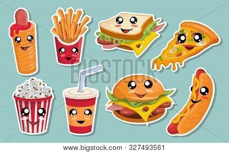 Vector Set Of Cute Kawaii Fast Food. Kawaii Faces. Cartoon Fast Food. Kawaii Eyes. Cute Junk Food Fa