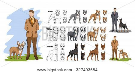 Set Of Man With Dog, Dog Friendship, Man With Pet. Man And His Best Friend Dog Pitbull, French Bulld