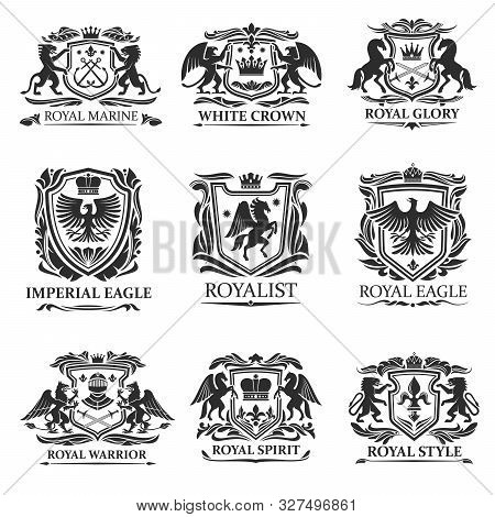 Shield Badges And Emblems Vector Design Of Royal Heraldry. Heraldic Coat Of Arms With Lions, Eagles