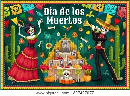 Dia De Los Muertos Altar And Dancing Skeletons Vector Design Of Mexican Day Of The Dead. Catrina And