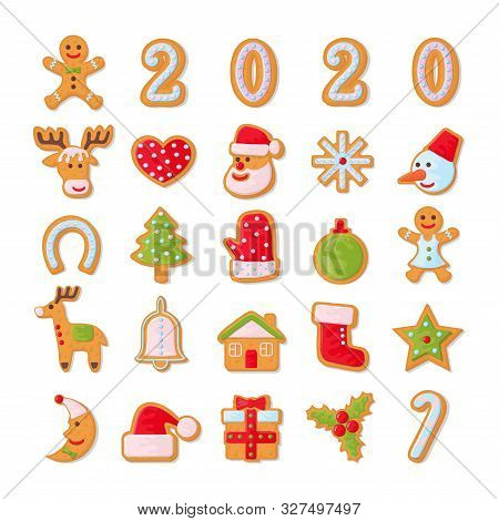 Set Of Christmas Cookies. Set Of Different Gingerbread Cookies For Christmas. New Year Gingerbread I