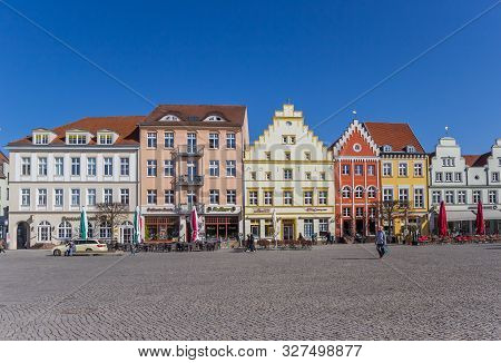 Greifswald, Germany - April 17, 2019: Historic Market Square In Hanseatic City Greifswald, Germany