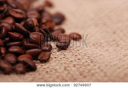 coffee beans over canvas
