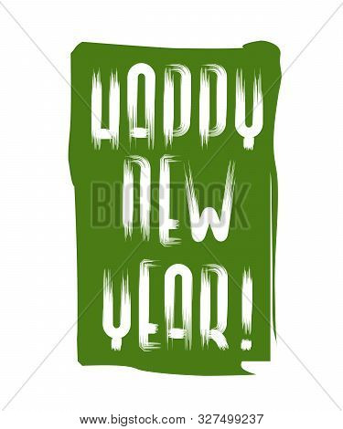 Green Banner Happy New Year! Vector Image. Eps 10
