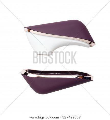 Purple Sex Toy For Clitoris Stimulation. Isolated On White Background.