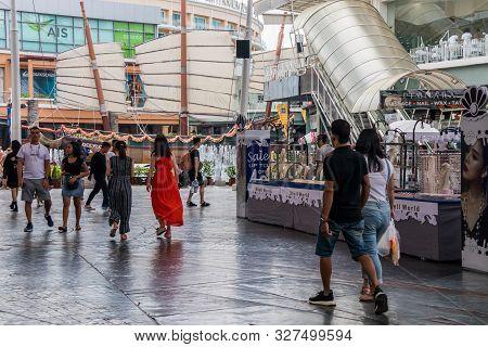 Patong, Phuket, Thailand - January 17th 2019: Tourists Walking Through Jung Ceylon Shopping Mall. Th