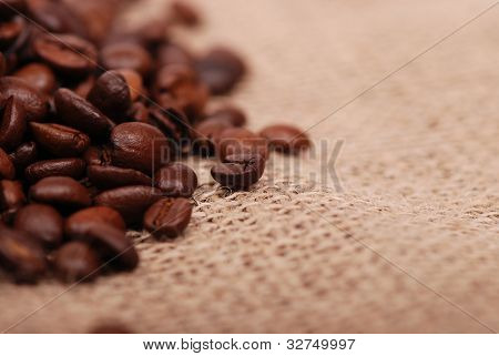 Close up roast coffee beans