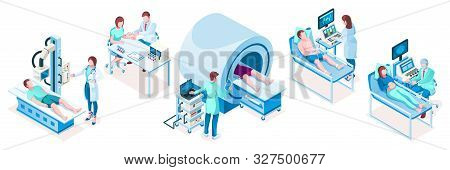 Set Of Isolated Isometric Medical Technology Equipment. Hospital Diagnostic Tools. Mri Tomography Ct