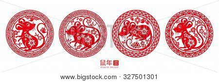 Set Of Isolated Round Signs With Rat For Happy 2020 Chinese New Year. Mouse In Circle For China Zodi
