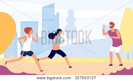 poster of Running training. Female running competition vector concept. Flat women run in park, coach with stopwatch. Illustration park jogging, people sport runner illustration