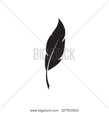 Feather Pen Logo Template. Quill Symbol Vector Design. Isolated Nib Icon On White Background.