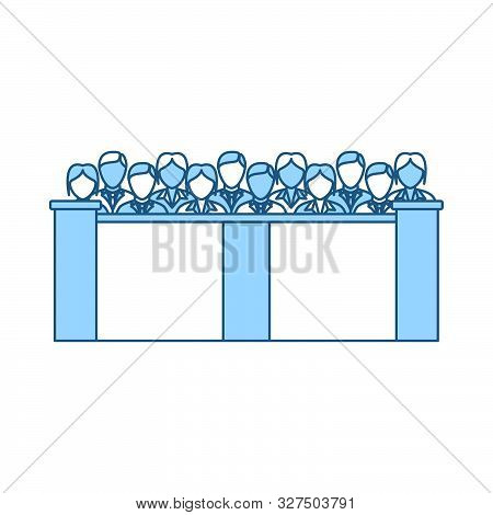 Jury Icon. Thin Line With Blue Fill Design. Vector Illustration. poster