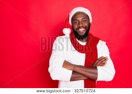 Portrait Of Positive Funny Brown Hair Afro American Man Cross His Hand Ready To Celebrate Newyear Ch