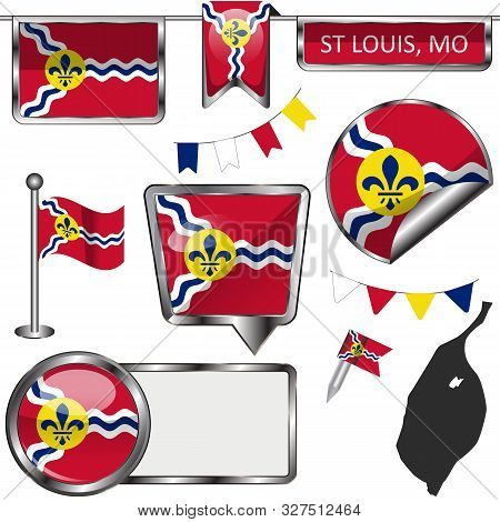 Vector Glossy Icons Of Flag Of St Louis, Missouri Of The United States On White