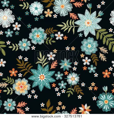 Embroidery Seamless Pattern With Beautiful Blue Wild Flowers. Fancywork. Trendy Print For Fabric And