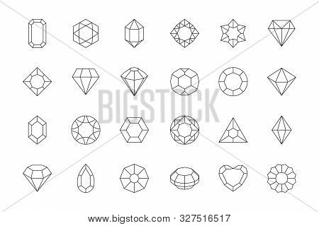 Gems Stones Icon. Diamond Jewels Luxury Quality Gifts Vector Low Poly Vector Symbols. Illustration C