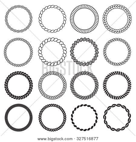 Round Rope Shapes. Circle Nautical Frame For Labels Decorative Sea Knot Border Vector Design Templat