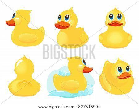 Rubber Duck. Bath Yellow Cute Toys Water Funny Games Vector Duck Cartoon Illustrations. Rubber Duck,