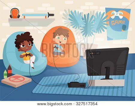 Video Game Room. Kids At Sofa Playing At Console Game With Two Gamepad Controllers And Tv Interior O
