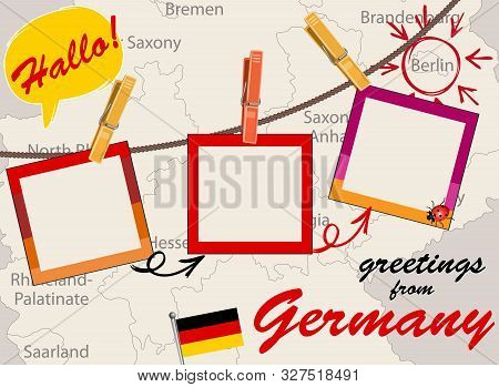 Vector Of German Greeting Card With Map, Rope With Clothespins And Photos, Flag And Speech Bubble Wi